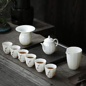 Hình đại diện sản phẩm Su Shi ceramic SUSHI CERAMICS non-legacy master tea set Chen Deqiang teacher hand-painted gold sheep fat jade white porcelain poetry teapot teacup kung fu tea set gift box