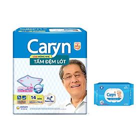 CARYN TẤM ĐỆM LÓT XL14 + 1 GÓI KHĂN ƯỚT CARYN 70 MIẾNG