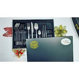 Bộ quà tặng dao muỗng nĩa/dao thìa dĩa cao cấp REGAL-CRYSTAL( 4 set - 16 pcs dao muỗng nĩa bàn ăn 304ss)