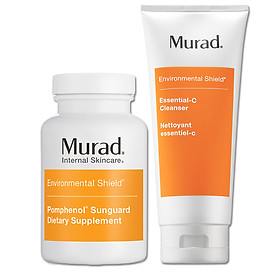 Set Hộp viên uống chống nắng nội sinh Murad Pomphenol Sunguard Dietary Supplement TẶNG Sữa rửa mặt Murad Essential-C Cleanser (200ml)
