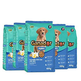 Combo 5 thức ăn cho chó con Ganador vị Trứng và Sữa Egg and Milk 400gr