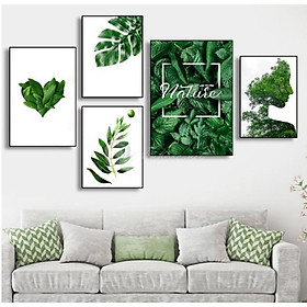Tranh treo tường phòng khách, phòng ăn - Bộ 5 tranh treo tường chủ đề tropical- ép kim sa-viền khung composite THD35