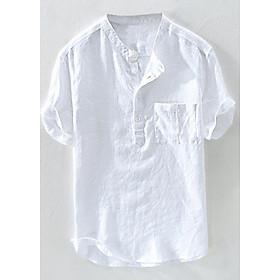 Áo sơ mi đũi nam cộc tay cổ trụ 4 khuy phối túi ngực LAHstore, chất đũi mềm mát, thích hợp mùa hè, thời trang trẻ, phong cách Hàn Quốc