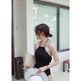 Hình đại diện sản phẩm Đồ Bơi Nữ Một Mảnh kiểu dáng cổ yếm răng cưa tròn hàn quốc, màu sắc đen chủ đạo BIKINI GHEISHA BKNGeH028