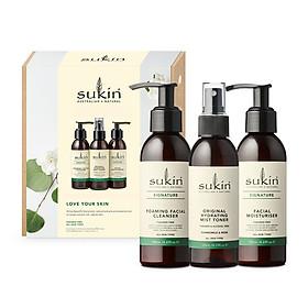 Hộp Quà Sukin Pack Love Your Skin Dưỡng Ẩm Da Sữa Rữa Mặt 125ml + Nước Hoa Hồng Phun Sương 125ml + Kem Dưỡng Ẩm 125ml