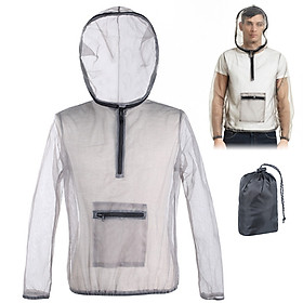 Outdoor Ultralight Mesh Hooded Bug Jacket Anti-mosquito See Through Protective Mesh Shirt Insect Shield for Camping