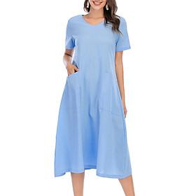 Women Plus Size Loose Dress V Neck Short Sleeves Pockets Vintage Holiday Beach Dress S-5XL