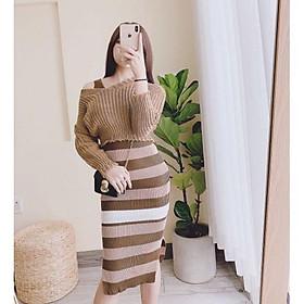 Váy len ôm body khoe đường cong sexy màu nâu tây
