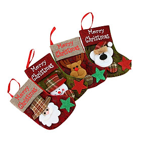 Christmas Stocking,4 Pack Classic Christmas Stocking Santa,Snowman,Reindeer,Bear,Xmas Character 3D Plush with Faux Fur