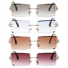 4Pcs Vintage Womens Rimless Sunglasses Retro Designer Tinted Lens UV 400 Eyewear