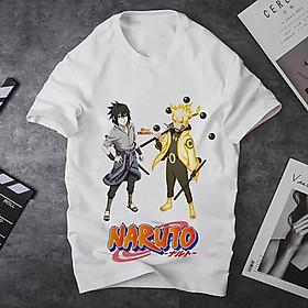 Áo thun Nam Nữ Không cổ NARUTO_SASUKE 2 THẰNG ĐANG ĐỨNG MSOP-27 mẫu mới cực đẹp, có size bé cho trẻ em / áo thun Anime Manga Unisex Nam Nữ, áo phông thiết kế cổ tròn basic cộc tay thoáng mát