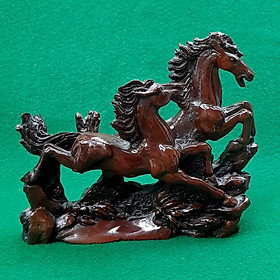 Tượng Song Mã Cùng Phi - Ngựa Phong Thủy Để Bàn Non Nước DSF-HR46 Bằng Đá Nhân Tạo Giả Gỗ - 20cm, trang trí phòng làm việc, phòng khách - Hàng đá mỹ nghệ  truyền thống