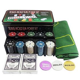 Bộ Chơi Trò Chơi Poker Texas Hold'em Và Hộp Quà 200 Chiếc Với Thẻ Bài Mat Chips