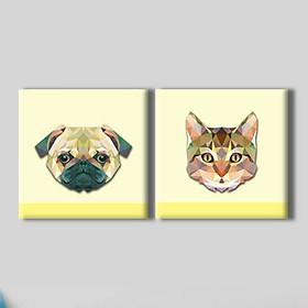 """Bộ 2 Tranh Ép Gỗ MDF Treo Tường Động Vật """"Cat And Dog"""" W109"""