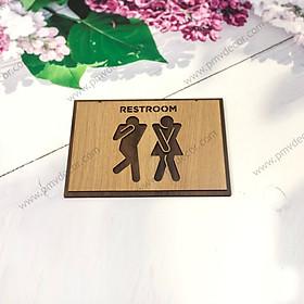 Bảng gỗ WC, Size 20*13cm, Bảng gỗ hai màu tương phản. Sang trọng, tinh tế, phù hợp mọi không gian PMV-BWC002