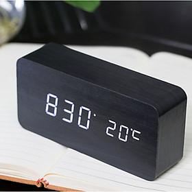 Đồng hồ để bàn Led gỗ khối chữ nhật màu đen Led trắng