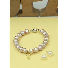 Bộ trang sức ngọc trai 2 món gồm Vòng tay charm kim loại hình lá và Bông tai thương hiệu Opal - TB8