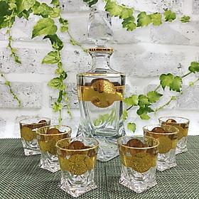 Bộ Bình Và 6 Ly Rượu Pha Lê Mạ Vàng Họa Tiết Versace