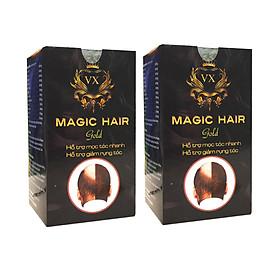 [Combo 2 hộp] Mọc tóc nhanh chống hói đầu, ngăn rụng tóc sau sinh, ngăn tóc bạc sớm, nuôi dưỡng tóc chắc khỏe, suôn mượt và bóng đẹp, giảm khô, xơ, gãy rụng tóc - Magic Hair Gold