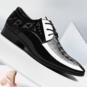 Giày Nam Công Sở - Giày Da Nam Cao Cấp - Kiểu Dáng Mũi Nhọn, Buộc Dây Sang Trọng, Lịch Lãm - Họa Tiết Vân Xoáy Đẹp Mắt - Full Size - GTN-09 - [ Kèm 1 Đôi Lót Bảo Vệ Gót Chân ]
