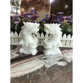 Cặp Cá Chép hóa Rồng phong thủy đá cẩm thạch trắng - Cao 15 cm