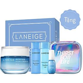 Bộ Kem Dưỡng Ẩm Laneige Water Bank Hydro Cream 50ml (Da Dầu + Da Hỗn Hợp) - Tặng bộ dưỡng ẩm và dưỡng Trắng Laneige