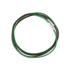 Combo 2 dây vòng cổ cao su xanh lá, nâu móc inox DCSXLN1 - Dây dù bọc cao su