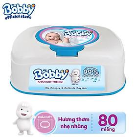 Khăn ướt Bobby không mùi hộp tiện lợi 80 miếng - Màu xanh