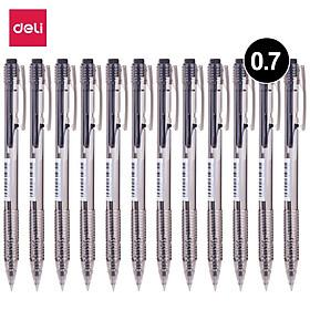 Bút bi dầu Deli - 0.7mm - đầu bấm - mực Xanh/Đen - 12 chiếc/hộp - EQ00120 / EQ00130