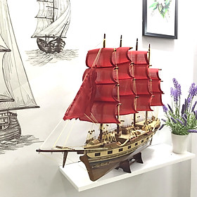 Mô Hình Thuyền Gỗ Chở Hàng FRANCE II - Thân 60cm - Loại 2 - Buồm Đỏ