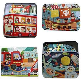 Combo 4 bộ tranh ghép 120 miếng Tranh Xe Bus, Hải tặc, Tàu vũ trụ , Xe cứu hoả