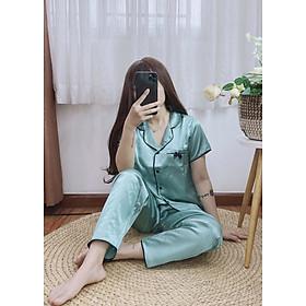 Đồ bộ ngủ mặc nhà nữ Lụa túi đính nơ dễ thương nhiều màu sắc dưới 62kg cho bạn gái tay ngắn quần dài