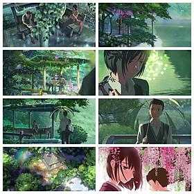 Poster 8 tấm Khu vườn ngôn từ anime chibi tranh treo album ảnh in hình đẹp (MẪU GIAO NGẪU NHIÊN)