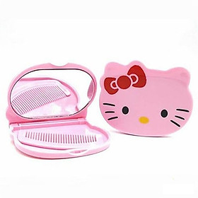 Bộ Gương Soi Và Lượt Mini Hình Mèo Kitty Tiện Dụng ( Họa Tiết Ngẫu Nhiên)