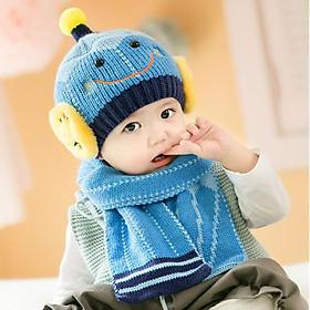 Bộ mũ khăn len cho bé mặt cười