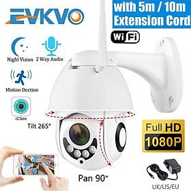 EVKVO - FREE Power Adapter - ICSEE XMeye APP Camera IP Rotate Kết nối wifi Camera chống trộm ngoài trời HD 1080P WIFI PTZ IP Camera CCTV Waterproof Tầm nhìn ban đêm hồng ngoại Home Security Surveillance Đàm thoại hai chiều ONVIF NVR Phát hiện chuyển động