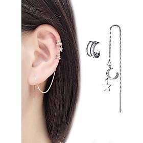 Bông tai nữ dài mảnh sao năm cánh cặp vành xỏ lỗ kết hợp bất đối xứng