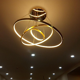 Đèn chùm - đèn thả trang trí 3 vòng viền vàng sang trọng CIOR 3 màu ánh sáng có điều khiển