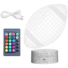 3D Rugby Football Led Night Light Illusion Lamp Color Changing Lights Bedside Table Desk Lamp with Touching & Remote