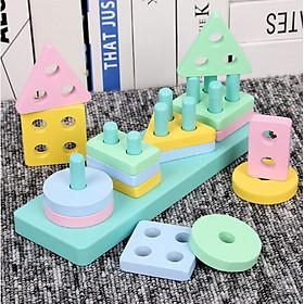Đồ chơi hình khối bằng gỗ xây dựng 4 cột khối lắp ghép hình học - đồ chơi gỗ thông minh cho bé