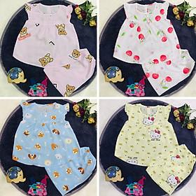 Set 3 bộ quần áo tole, lanh CÁNH TIÊN cho bé gái size từ 5-36 kg - màu ngẫu nhiên