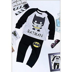 Bộ Đồ Người Dơi Batman Dài Tay In Cotton Cho Bé Trai