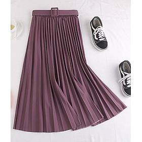 Chân váy xếp ly dáng dài có đai chất vải không nhăn Free size (VAY36)