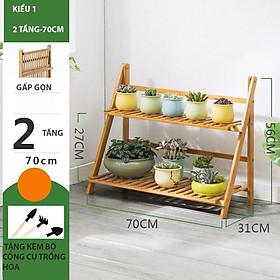Kệ để chậu hoa cây cảnh gỗ tre gấp gọn đa năng nhiều tầng 2 3 4 tầng để trong nhà ngoài trời sân vườn ban công tiện lợi