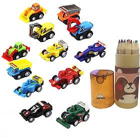 Combo Đồ chơi trẻ em gồm 2 bộ - bộ đồ chơi xe đua, Bộ đồ chơi bút chì màu 12 chiếc chất liệu gỗ cao cấp cho bé phát triển trí tuệ