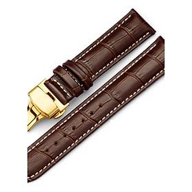 Dây đồng hồ khóa bướm vàng 2 nút bấm cao cấp (chỉ trắng)