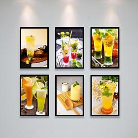 Tranh Bộ Treo Tường Trang Trí Quán Cafe, Nước Ép Sinh Tố, Đá Xay Cực Đẹp Tặng Kèm bộ ảnh như hình mẫu, đinh treo tranh và sơ đồ treo PGC302
