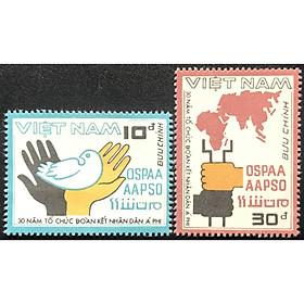 Bộ tem sưu tầm Việt Nam chủ đề kỷ niệm 30 năm tổ chức đòan kết nhân dân Á - Phi 2 con
