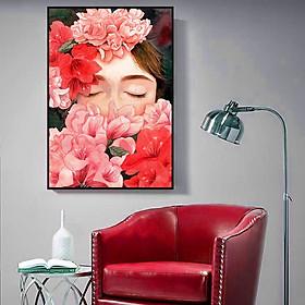 Tranh canvas Cô gái và hoa hiện đại trang trí treo tường- Tặng kèm set đinh 3 chân và khung bo ngoài