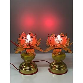 Cặp Đèn thờ ( hoa sen cánh nhựa) cao  18 cm - ánh sáng đỏ